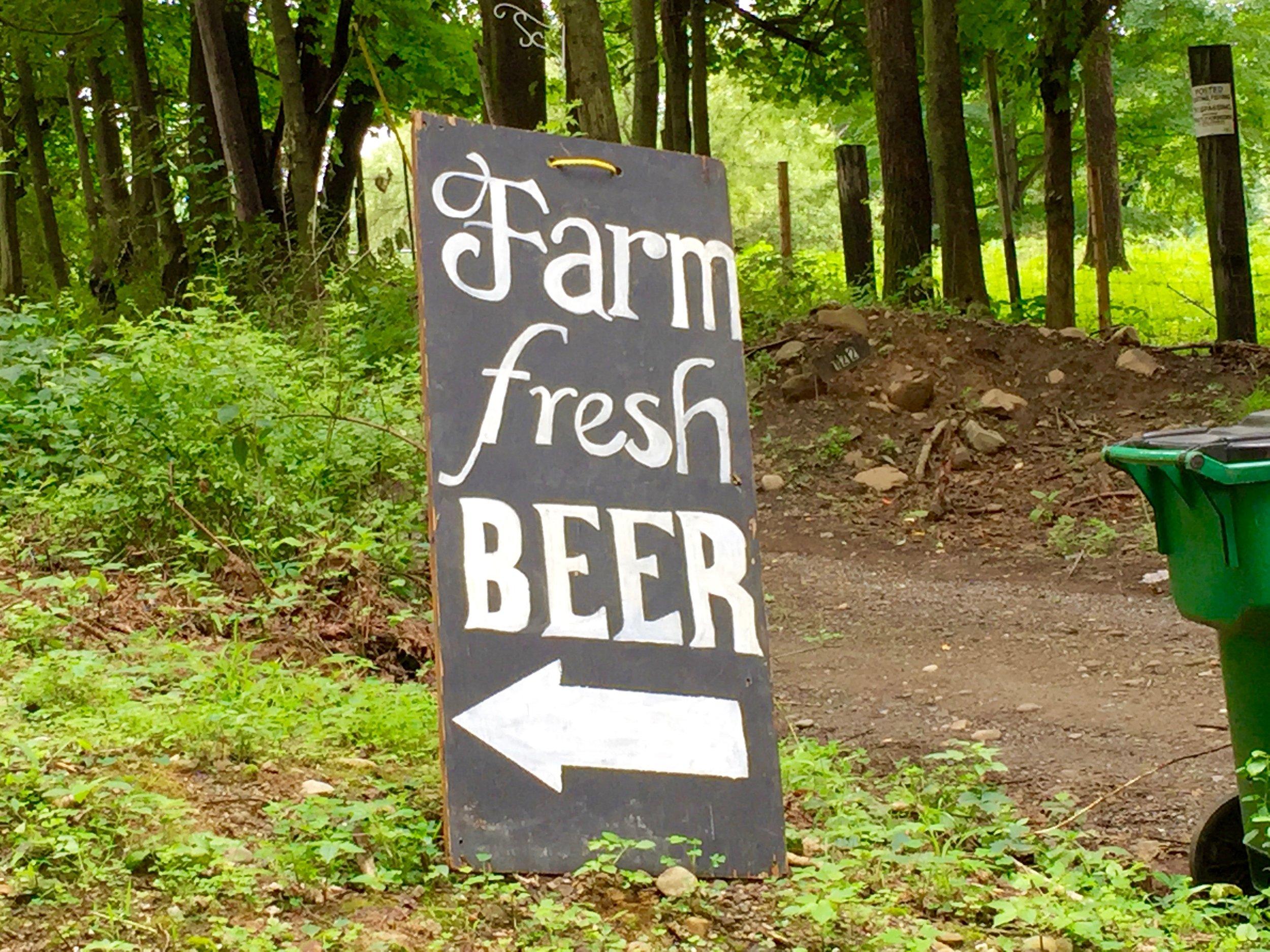farm fresh beer sign at plan bee brewery poughkeepsie