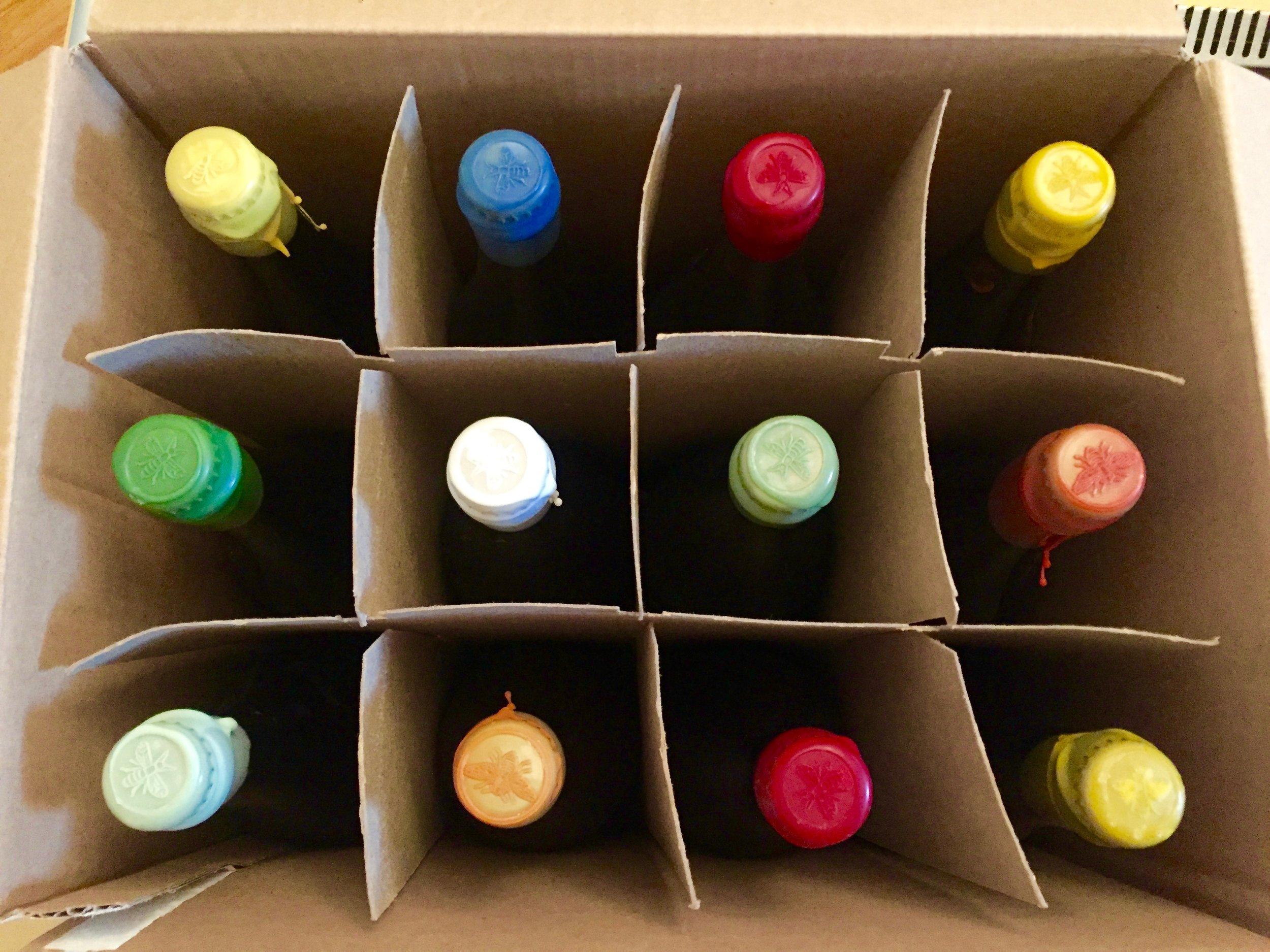 Plan Bee wax-topped bottles