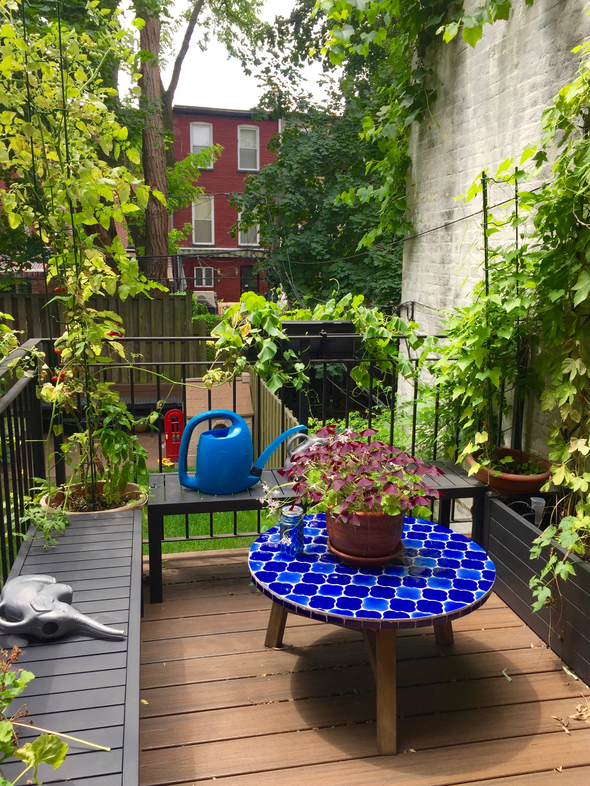 Patio garden with stacking tomato ladders from Gardener's Supply.