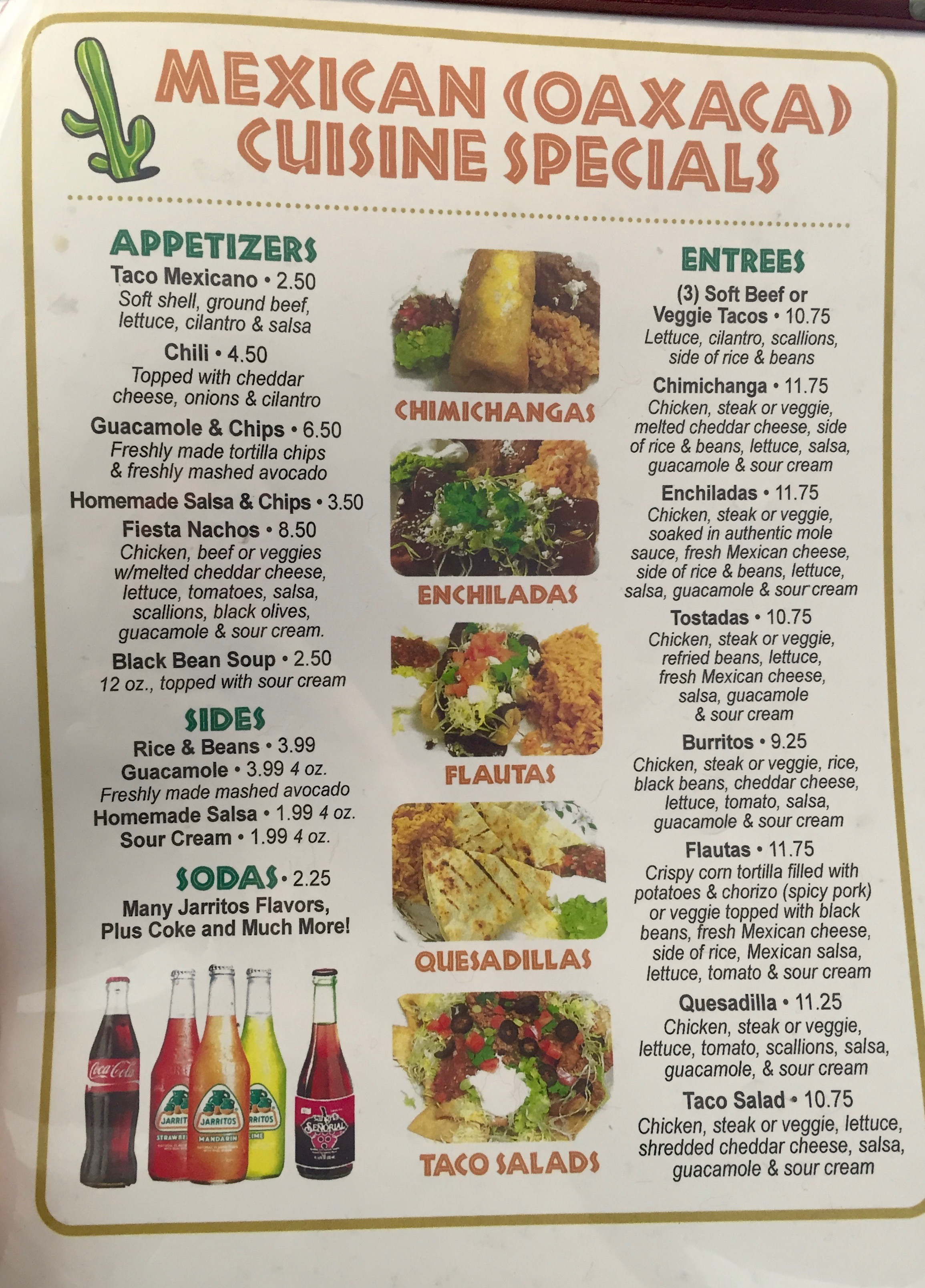 Angel's Cafe Mexican Menu