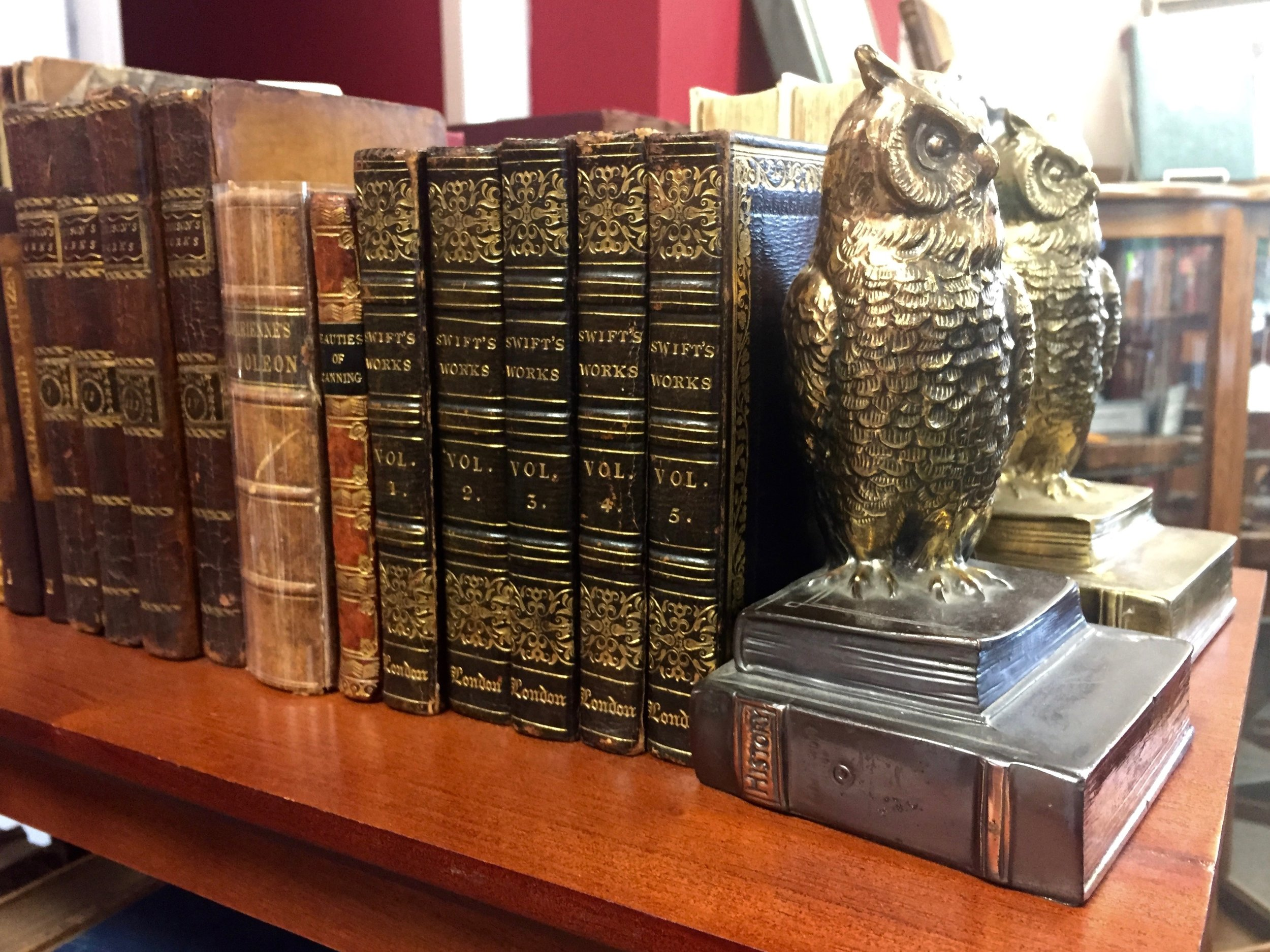 Owl Bookends at Adams' Antiquarian Book Shop