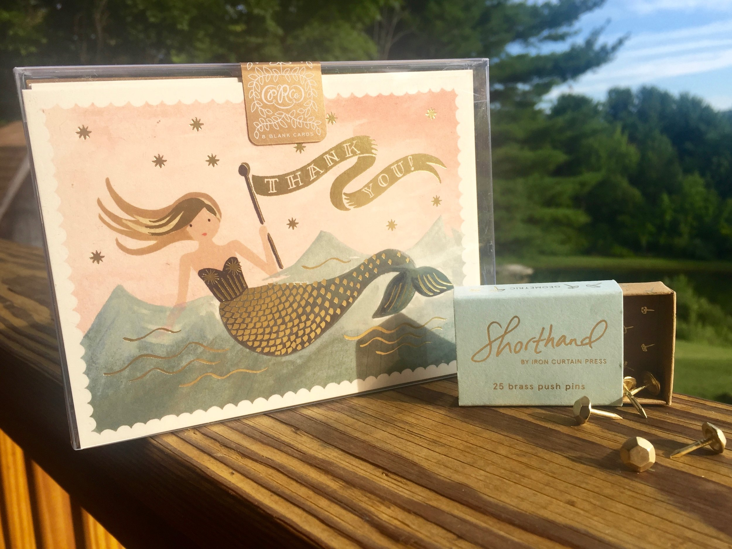 mermaid thank you notes and brass push pins