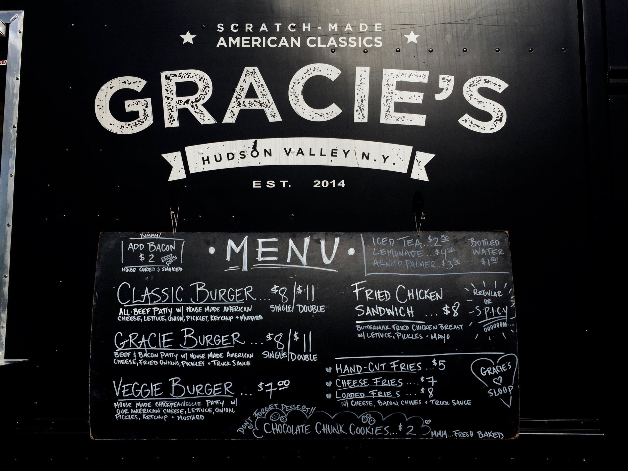 gracies food truck menu