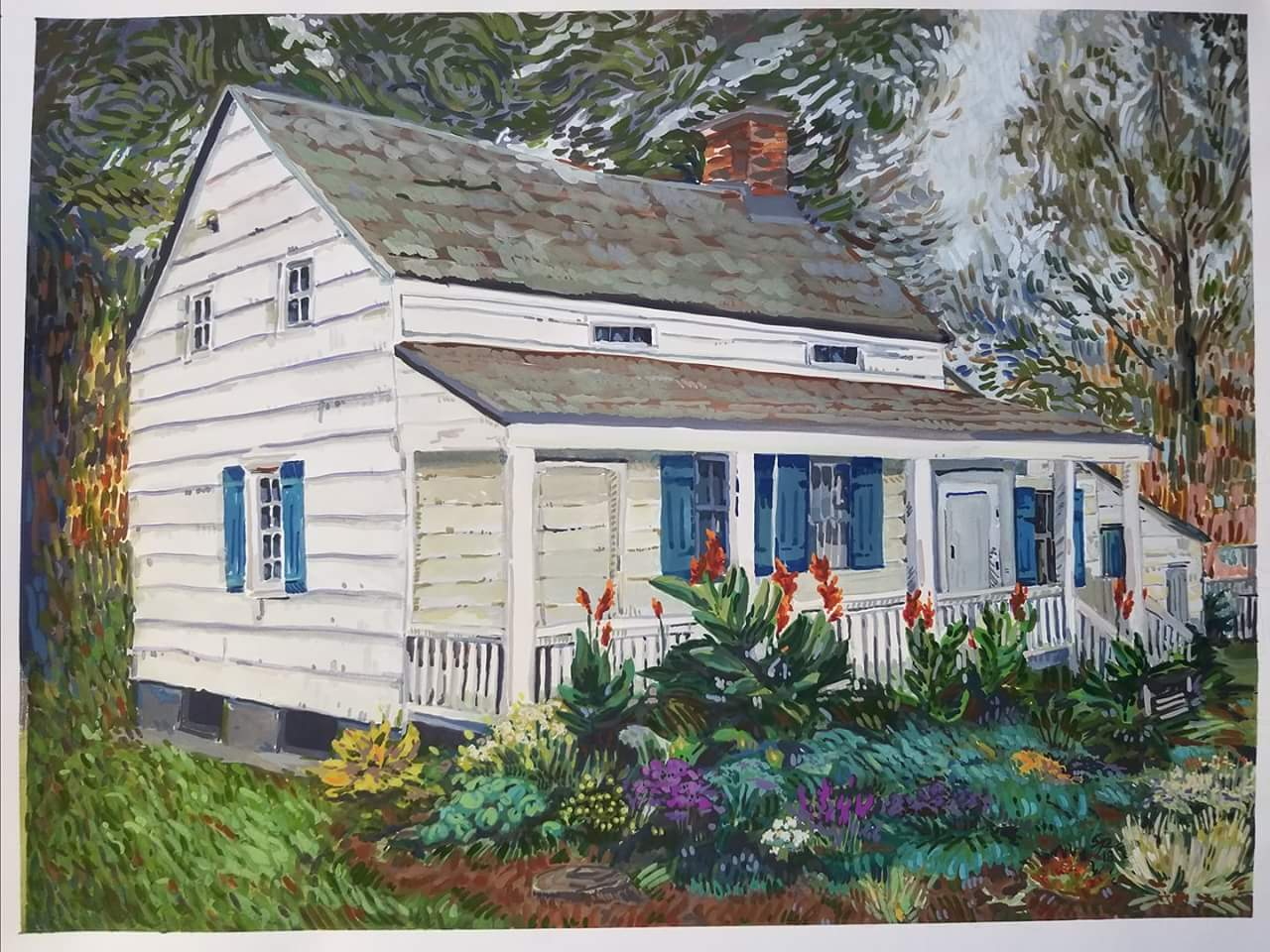 "A Writers' Cottage, Edgar Allan Poe's Cottage in the Bronx  by Sara Pruiksma, gouache on paper, 14.5"" x 19.5"" 2018"