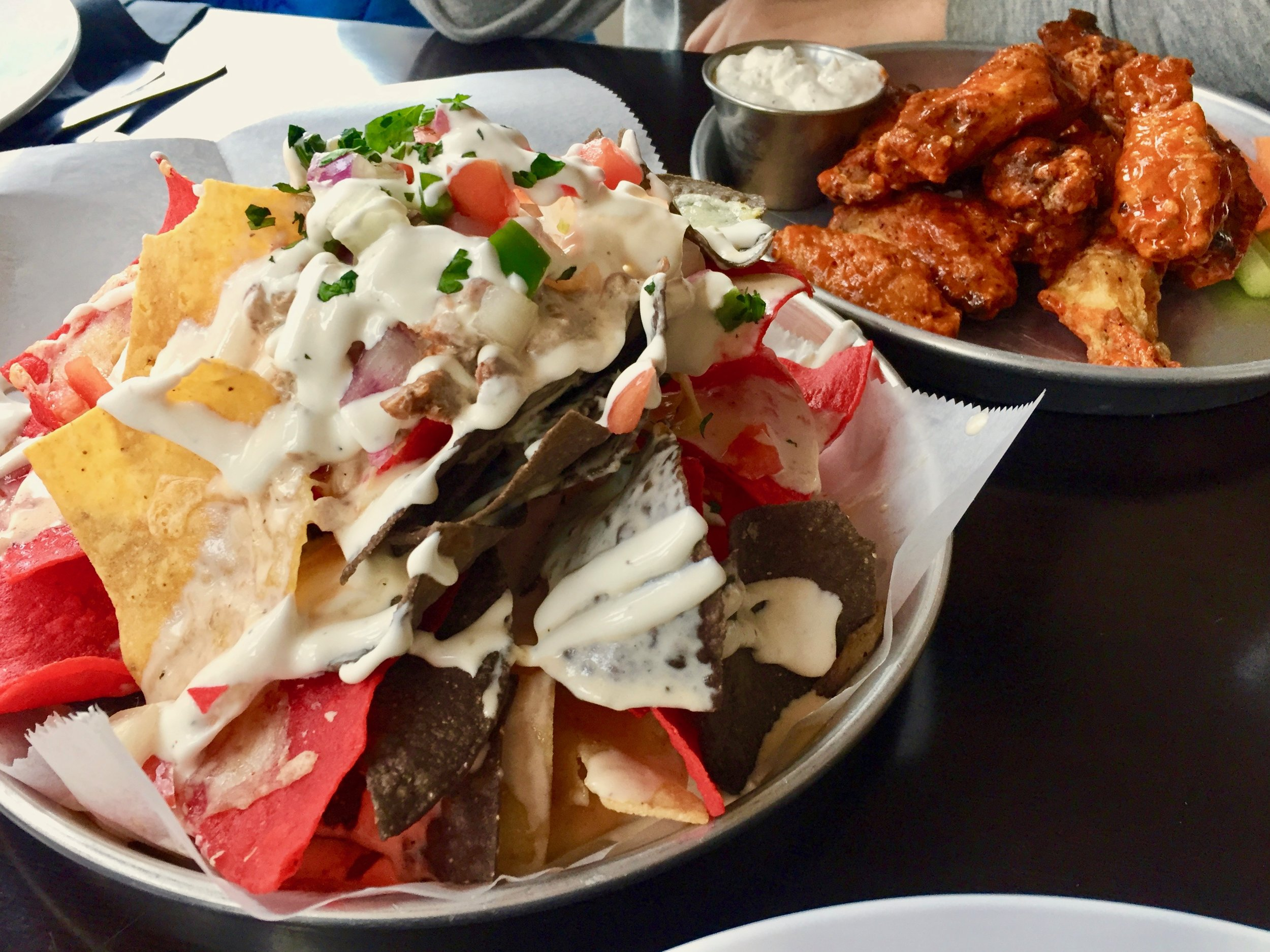 Nachos and wings at Crossroads Brewing in Athens, NY