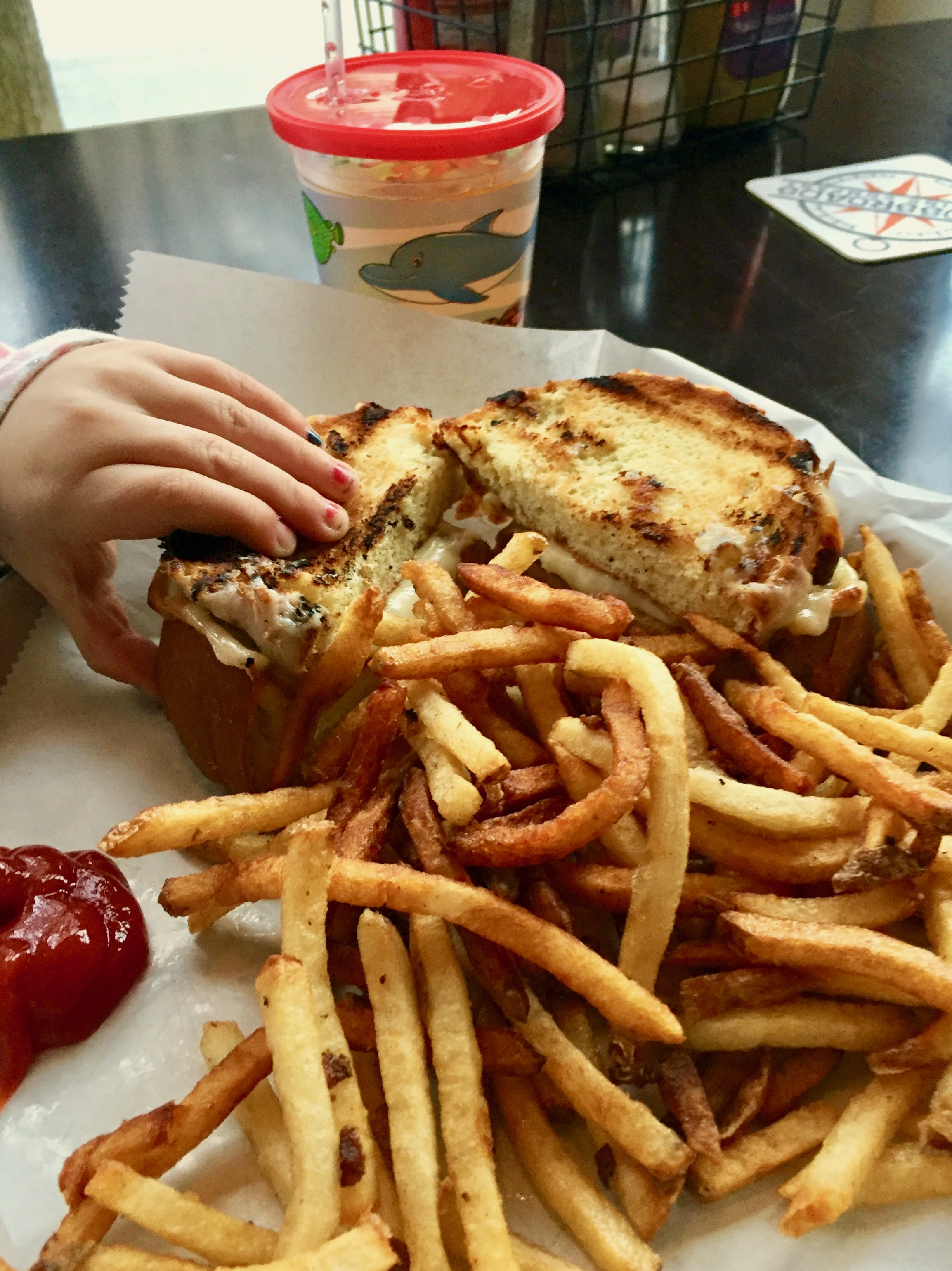 Grilled cheese and fries from the kids menu at Crossroads Brewing in Athens, NY
