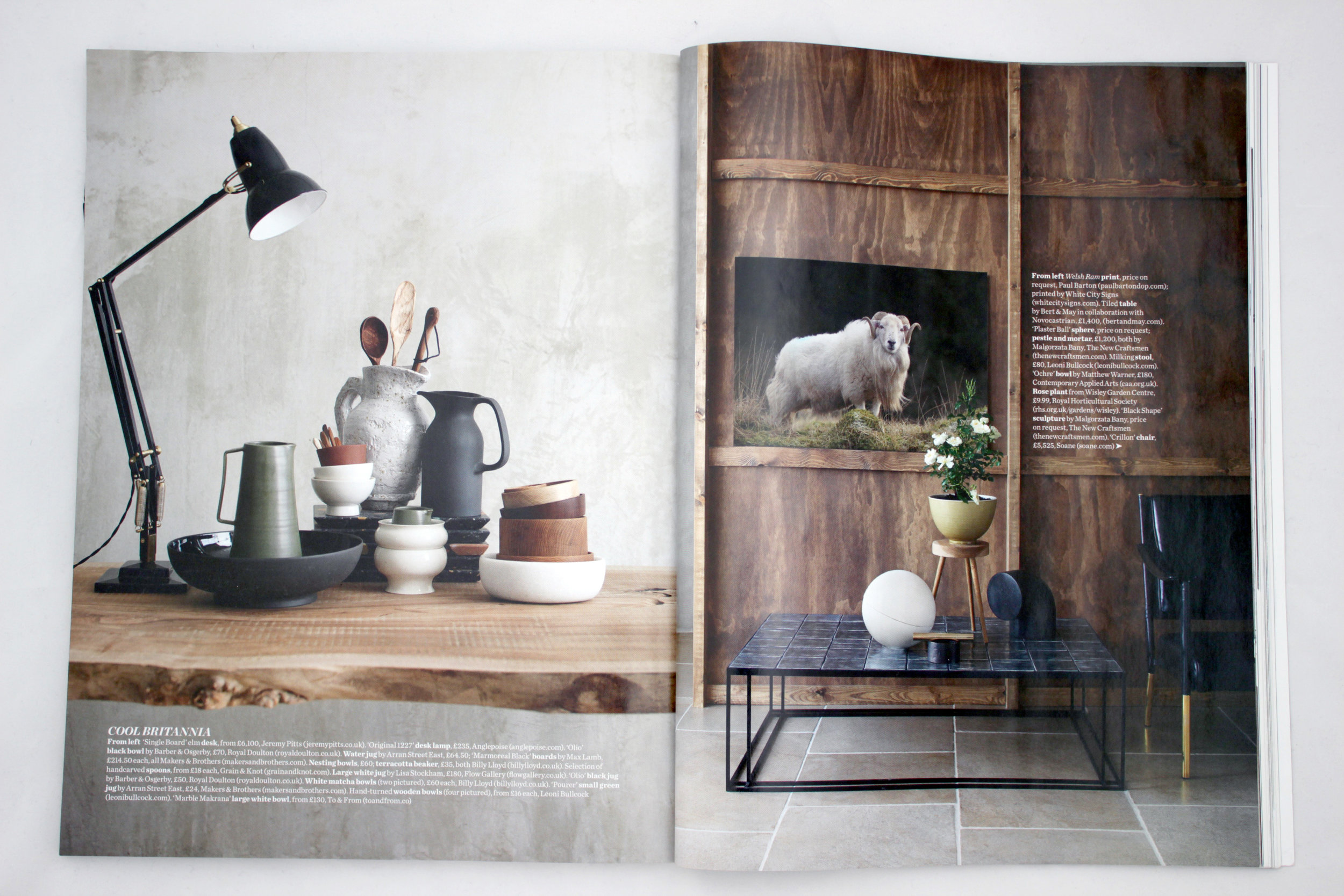 Elle Decoration October 2016 - Cool Britannia -featuring:   White marble Katori
