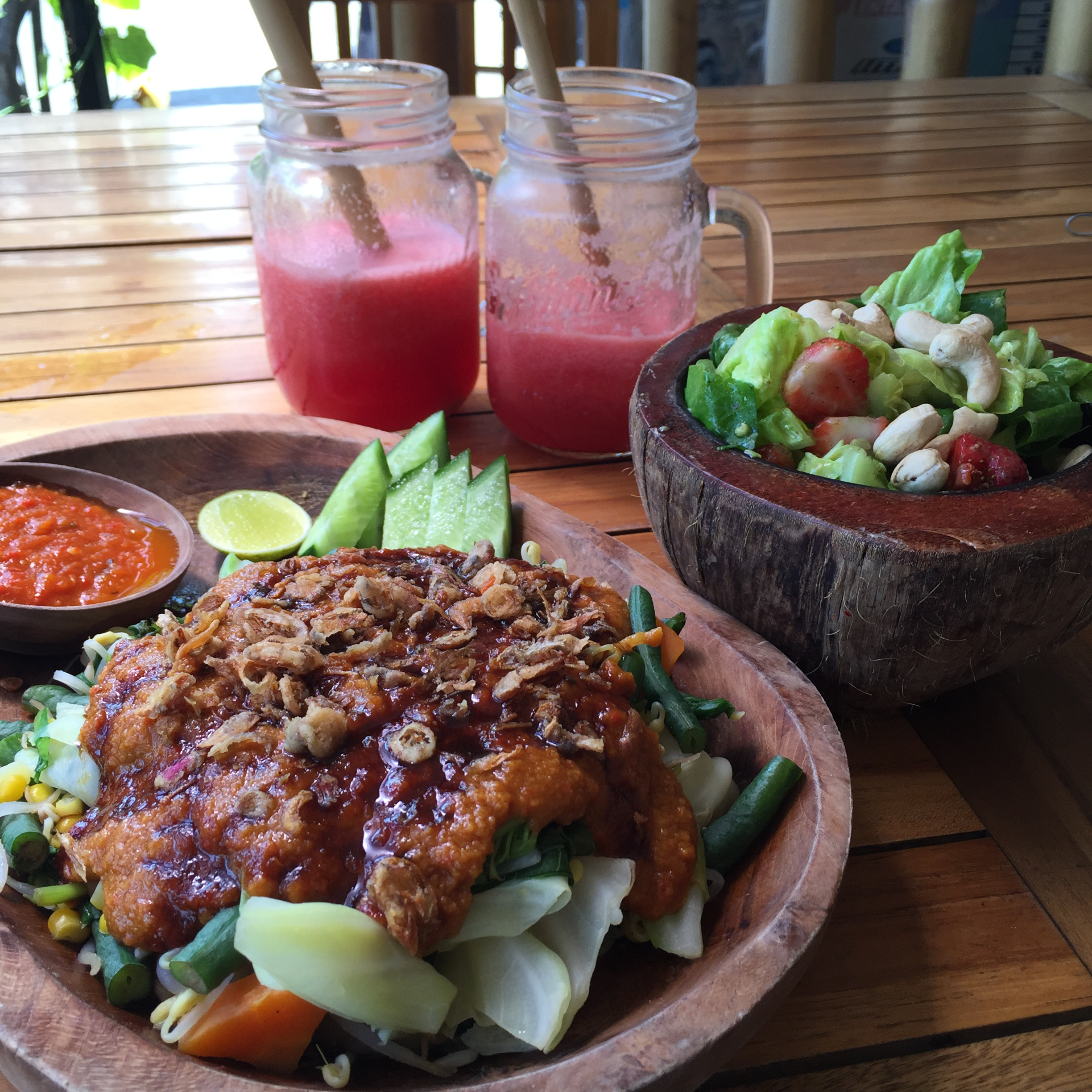 Gado Gado, Summer Salad & Two Watermelon Juices