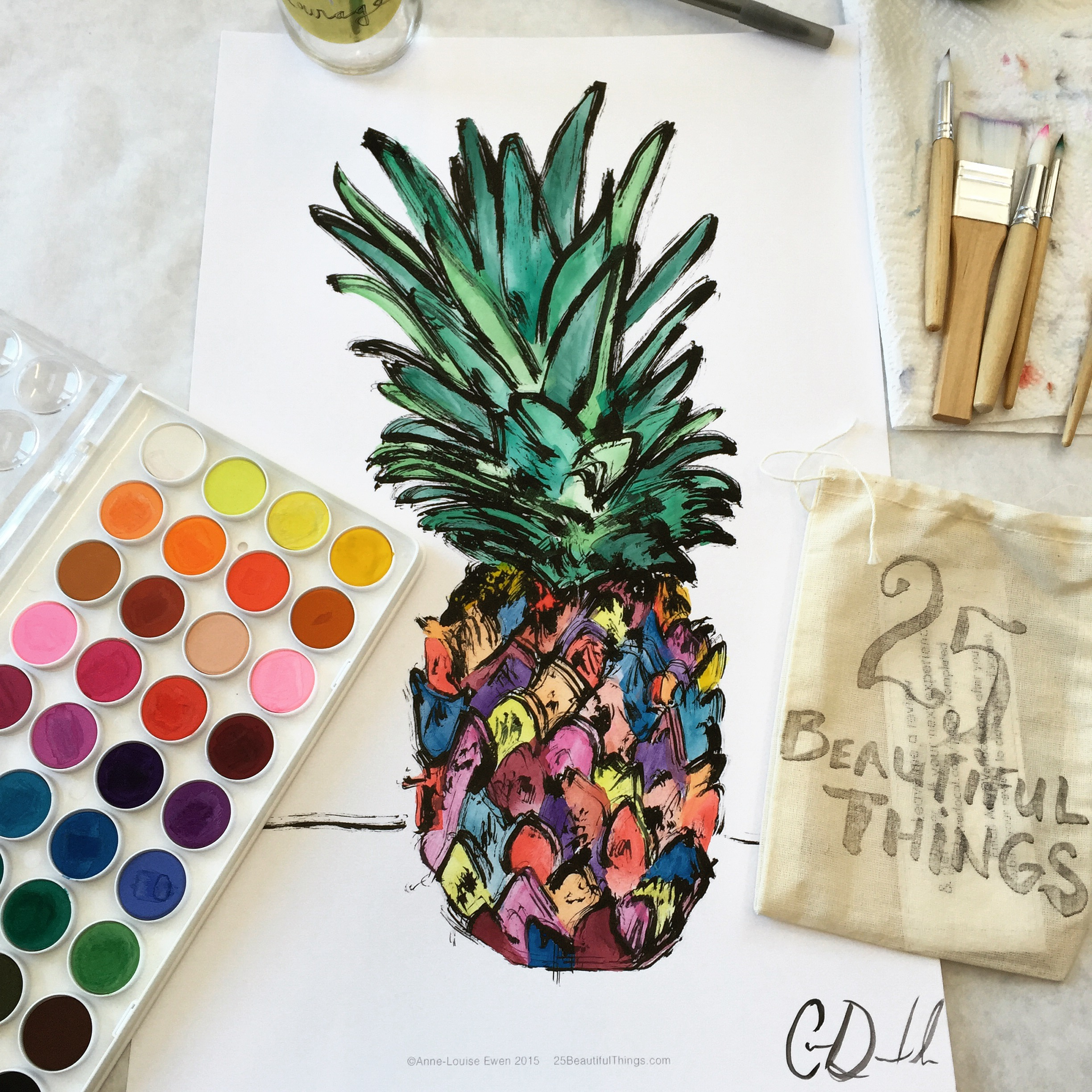 Creative mornings with Anne-Louise's 25 Beautiful Things watercolor book!