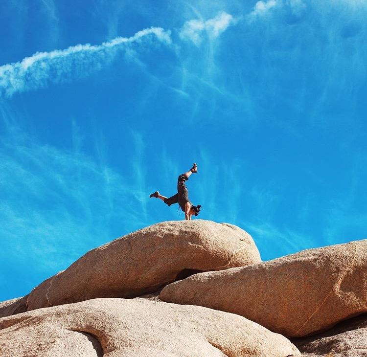 Vanessa doing handstands at Jumbo Rocks