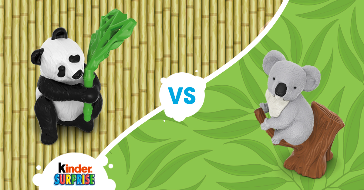 Copy: Which one of these cute animals would you like to find in a KINDER® SURPRISE®? The Panda or the Koala?