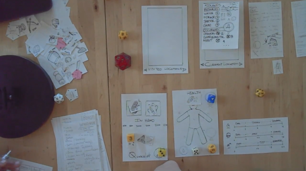 For a few weeks, we ran paper game jams where we hashed out ideas about content, items and enemies. The result was actually a rather fun D&D-esque board game that to this day tempts us...  tabletop Wild Passage anyone? Maybe one day...