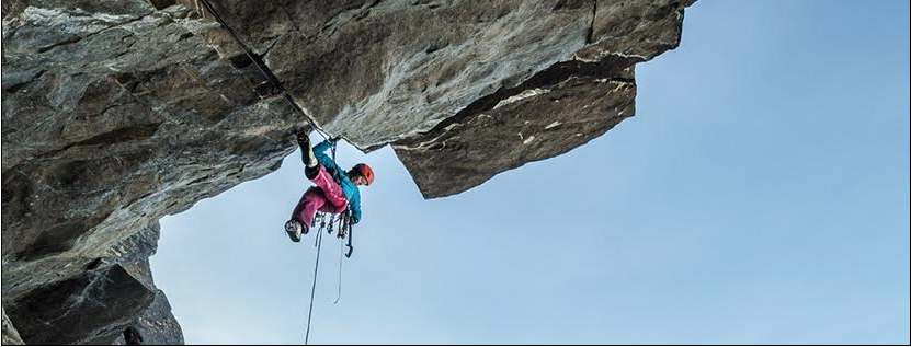 Climber shows one of the climbs Featured in Banff Mountain Film Festival