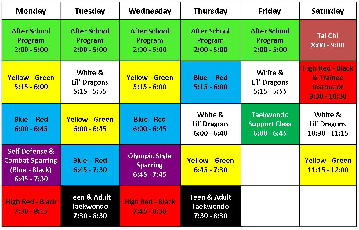 2018 Class Schedule