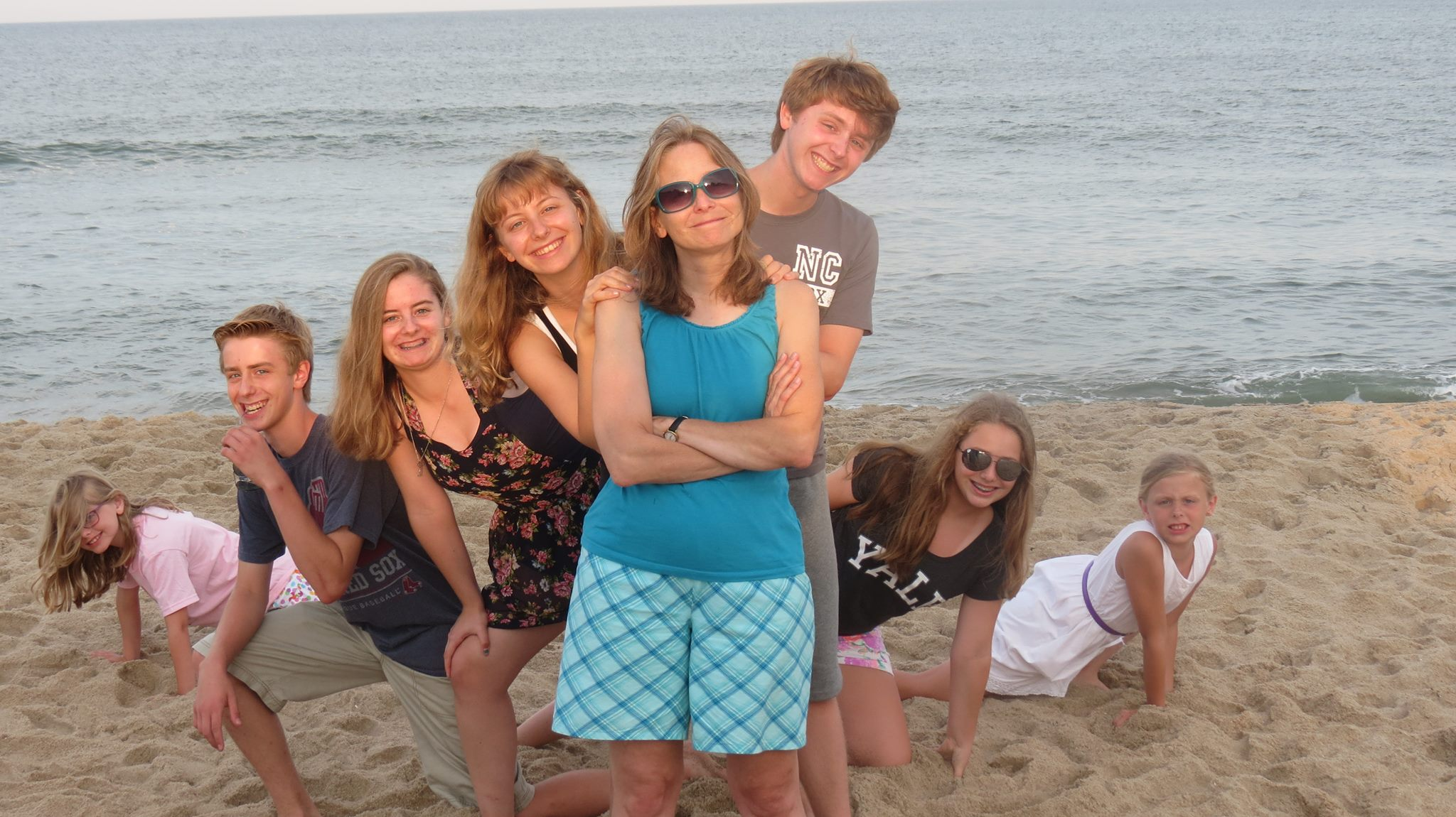 Helen and her 7 kids in the Outer Banks, 2013