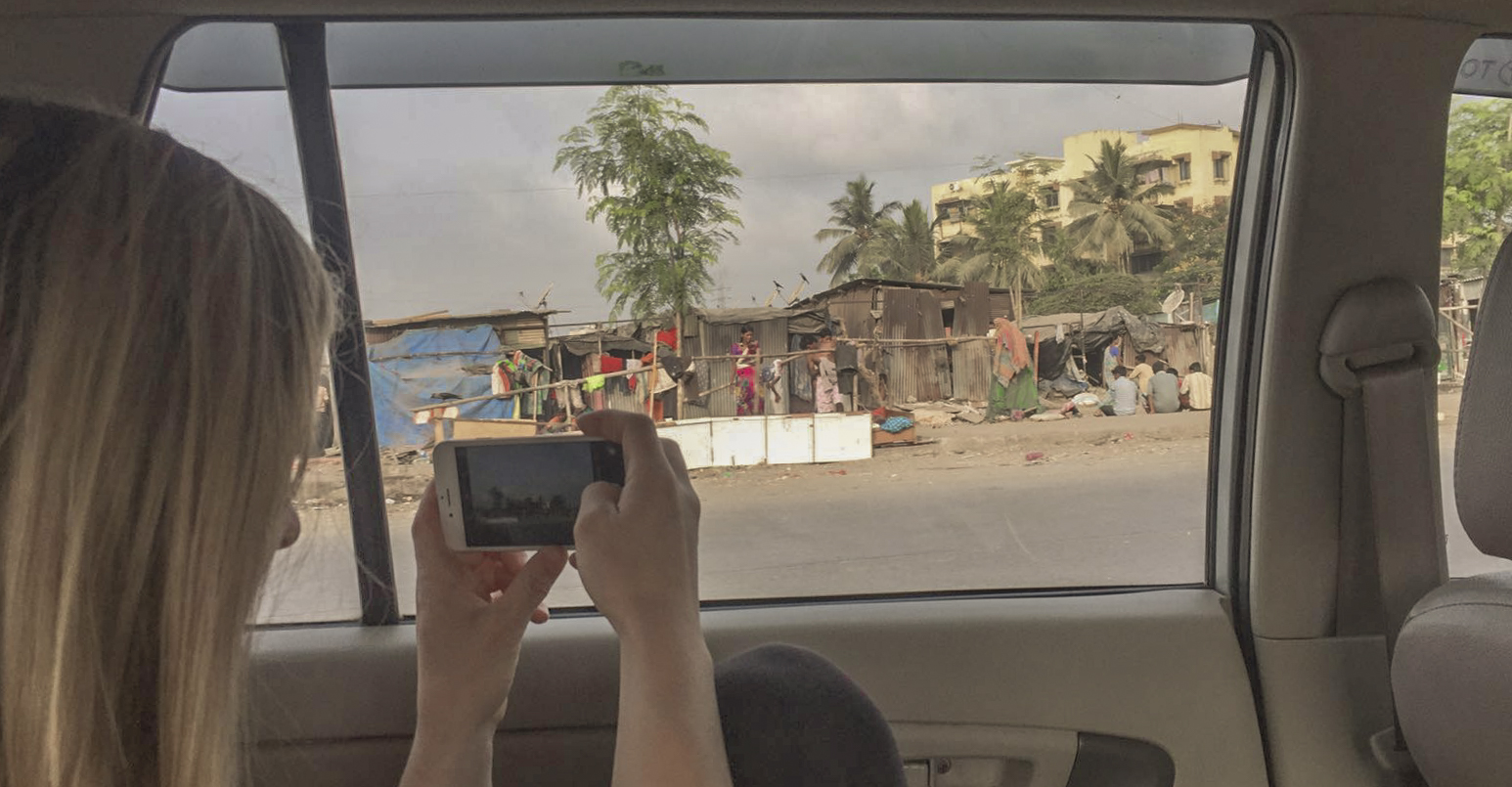 Cab ride through a residential area 3/4