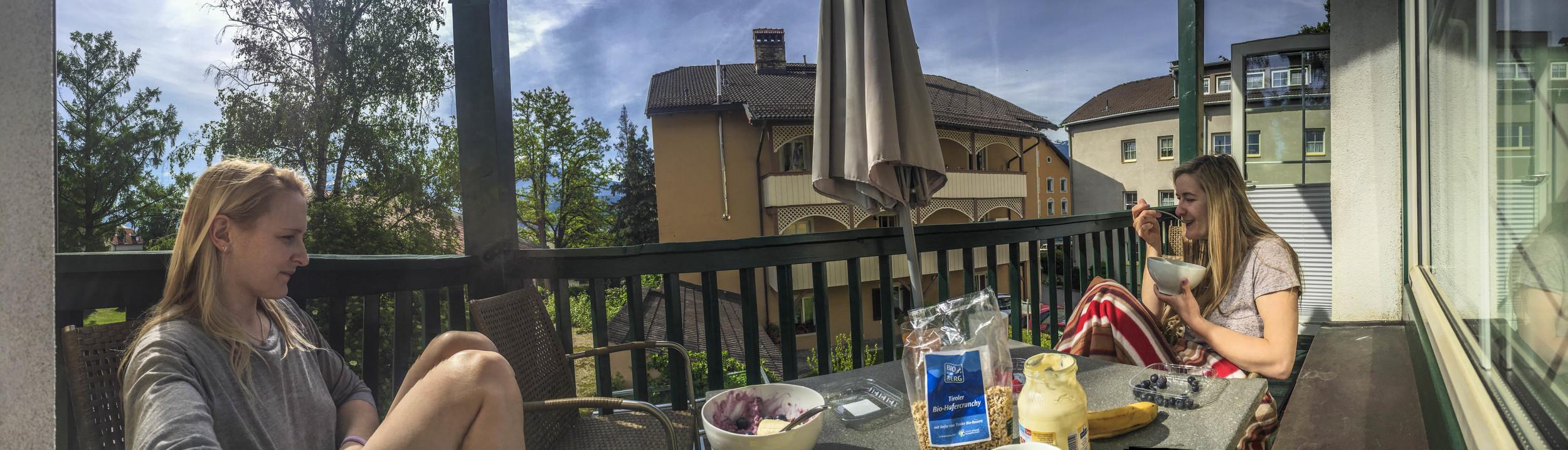 HAPPY COMPETITORS. Balcony breakfast.