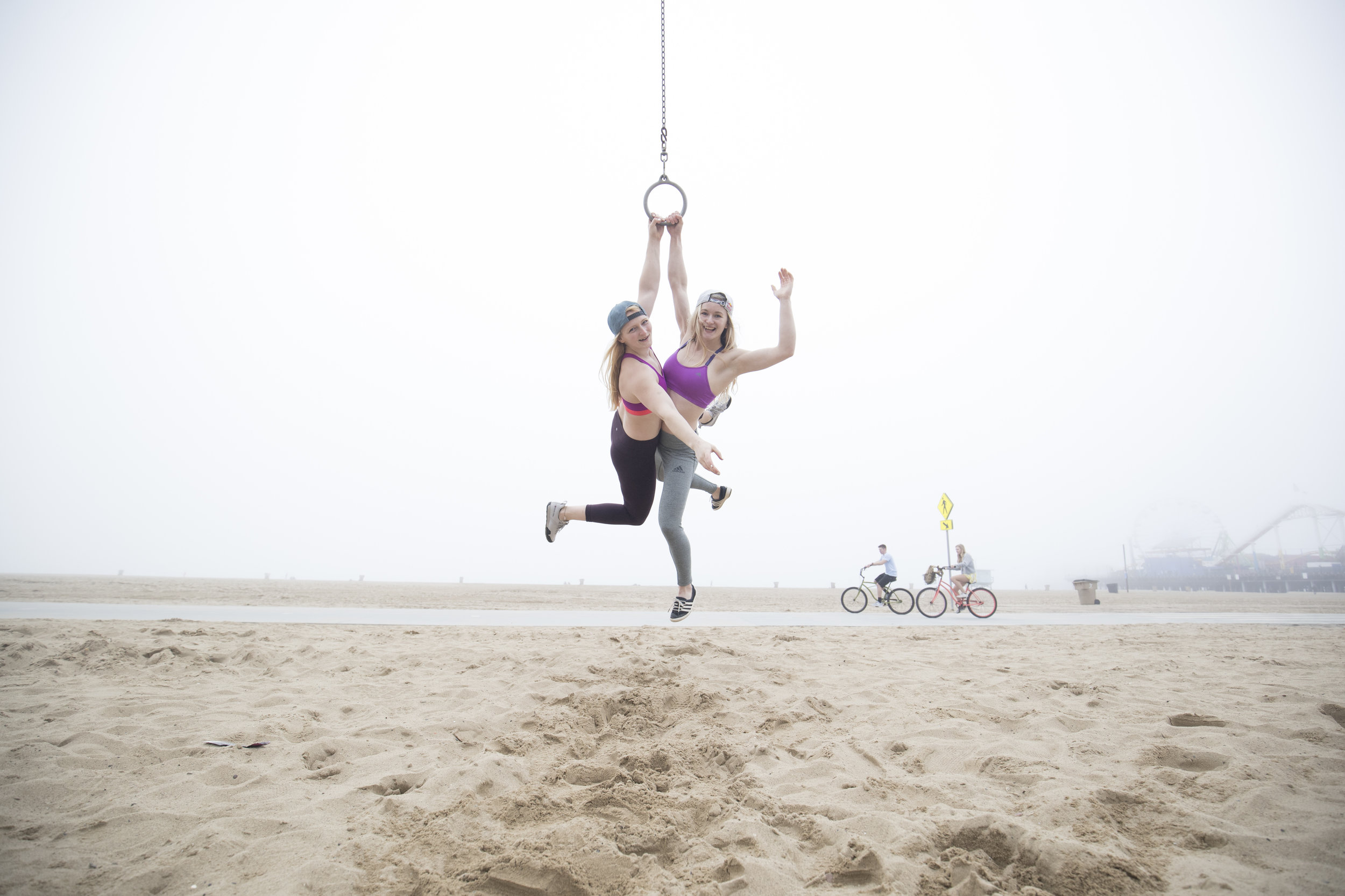 Having fun at Muscle Beach, LA. pic:   BEARCAM MEDIA