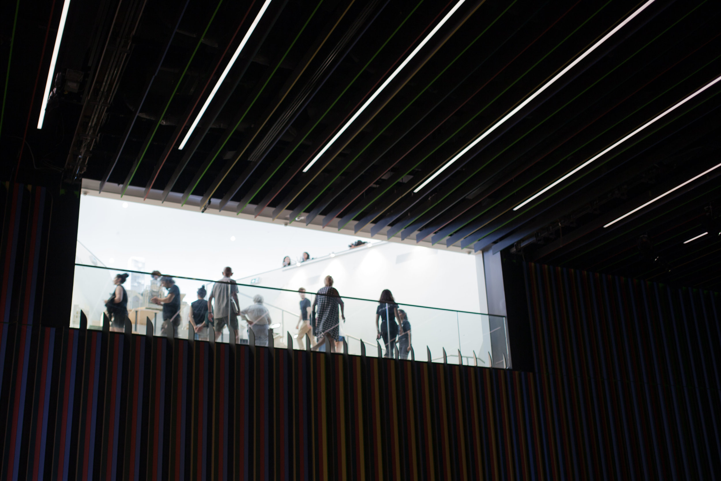 There is a viewing area that allows spectators to look into the auditorium from the upper level of the building.