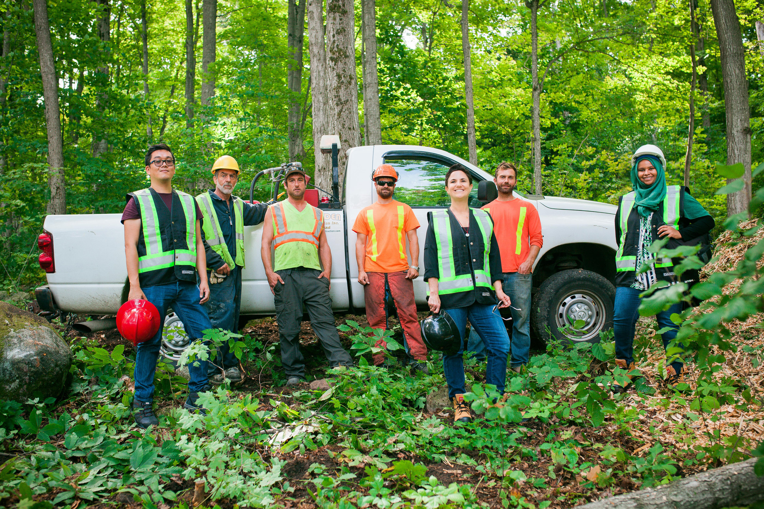 The Team including members of  Morden Construction  who worked on the clearing of the land.