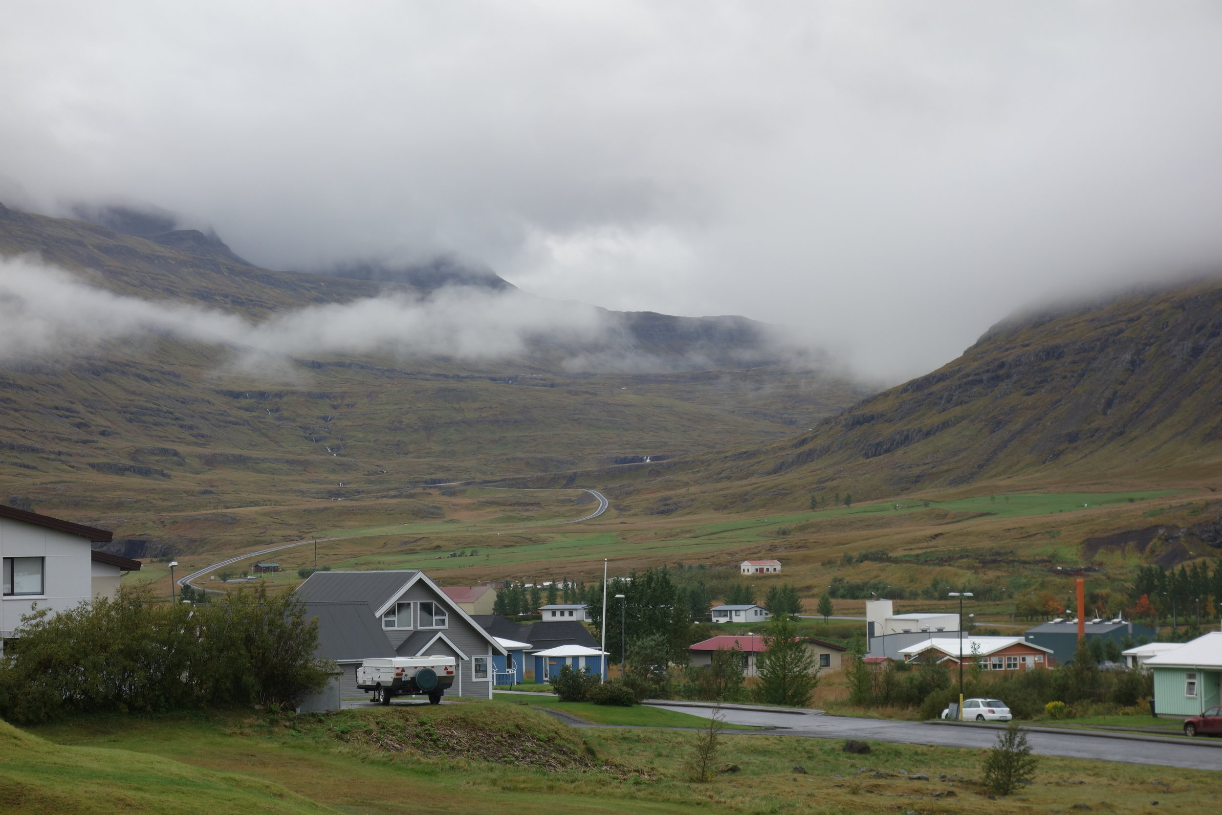 The road the leads into town and continues on for 27 km, weaving through the desolate fjords.