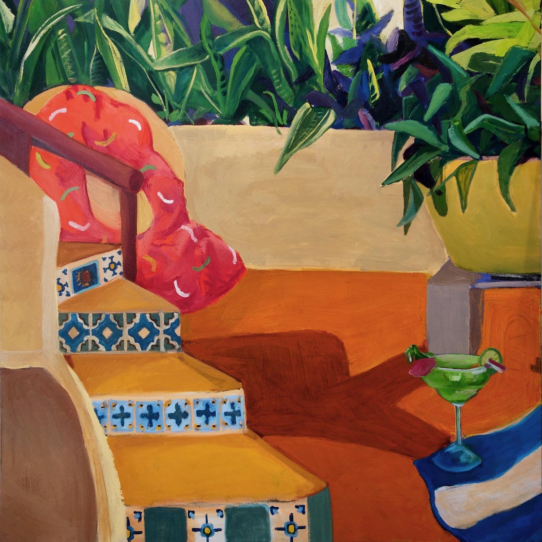Beach Party, 46x46, oil on canvas