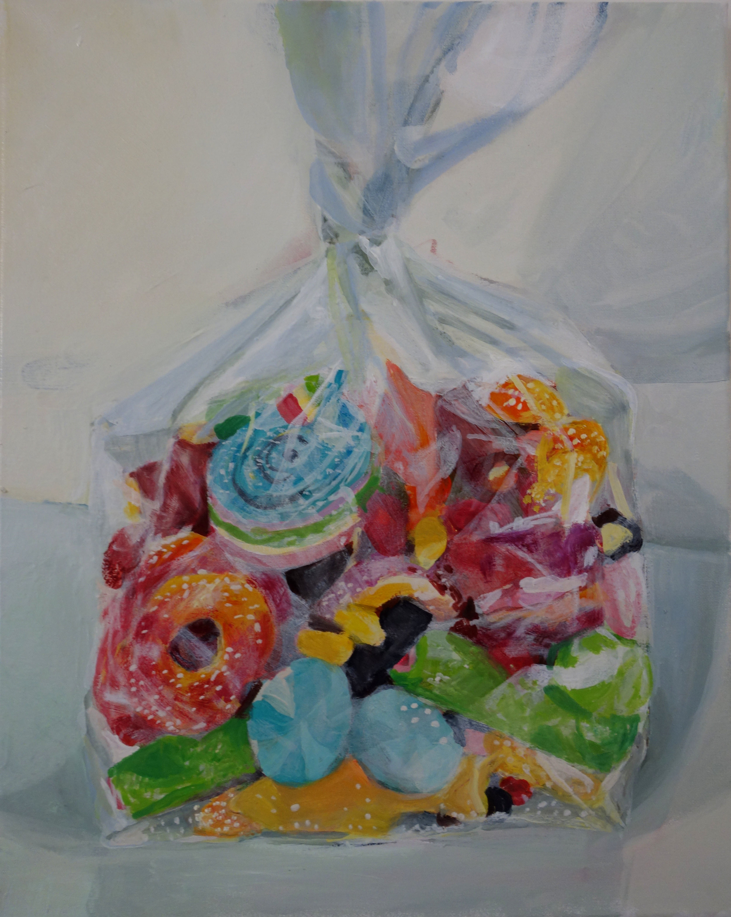 Candy Bag Dinner, 16x20, oil on canvas