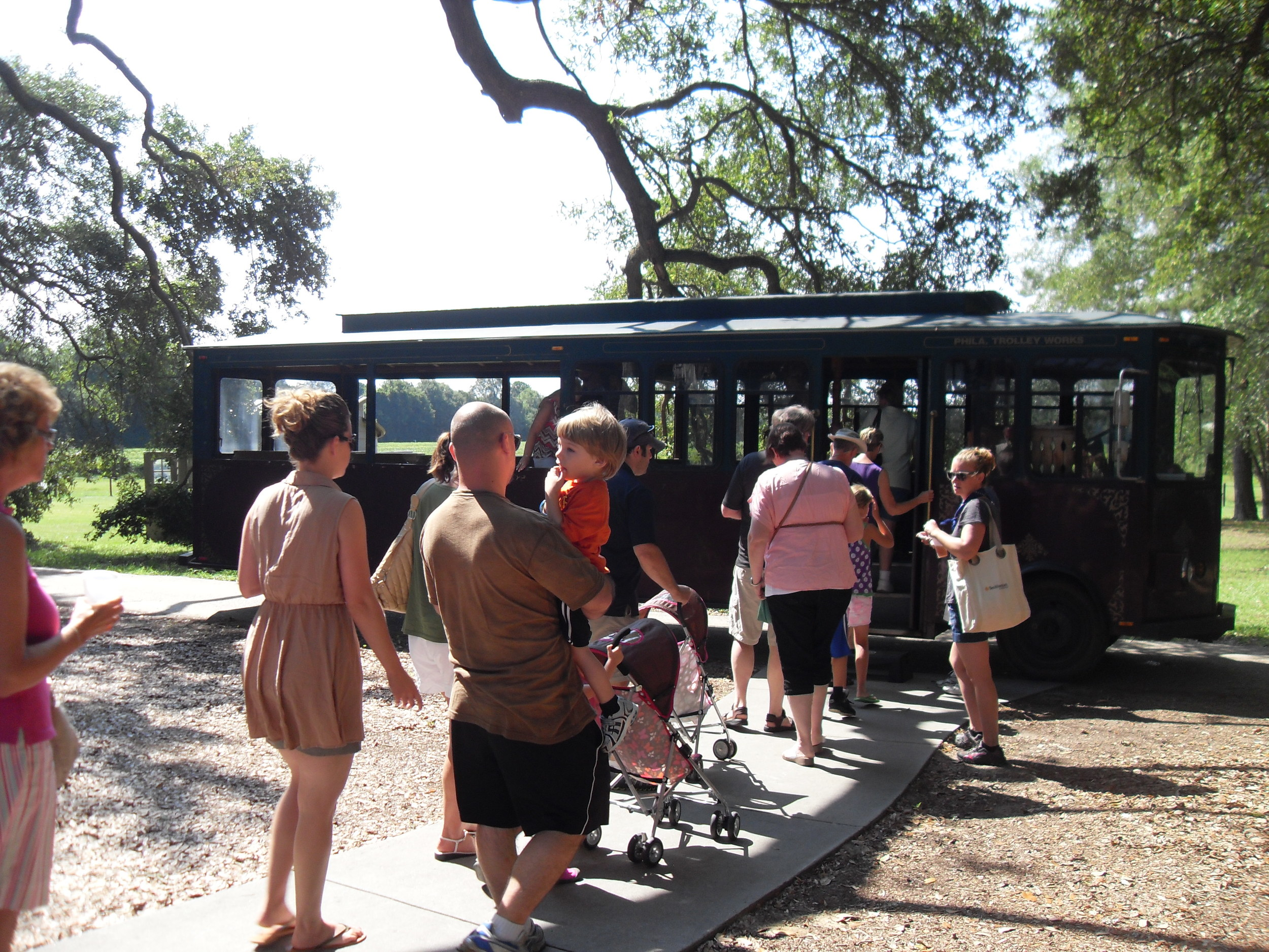 Guests in line to enjoy a scenic trolley tour