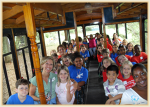 Students on the trolley tour