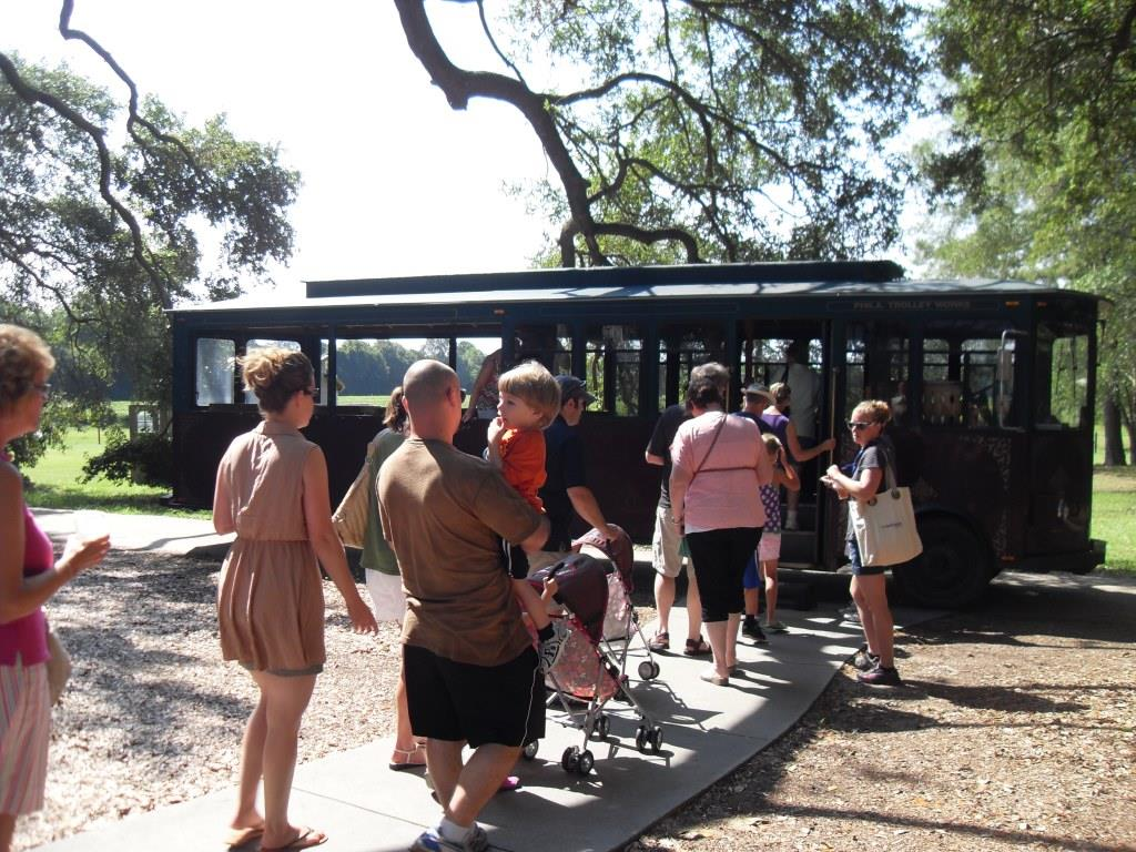 Guests loading the trolley for a tour
