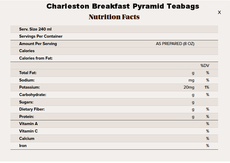 Charleston Breakfast pyramid tea nutritional info.png