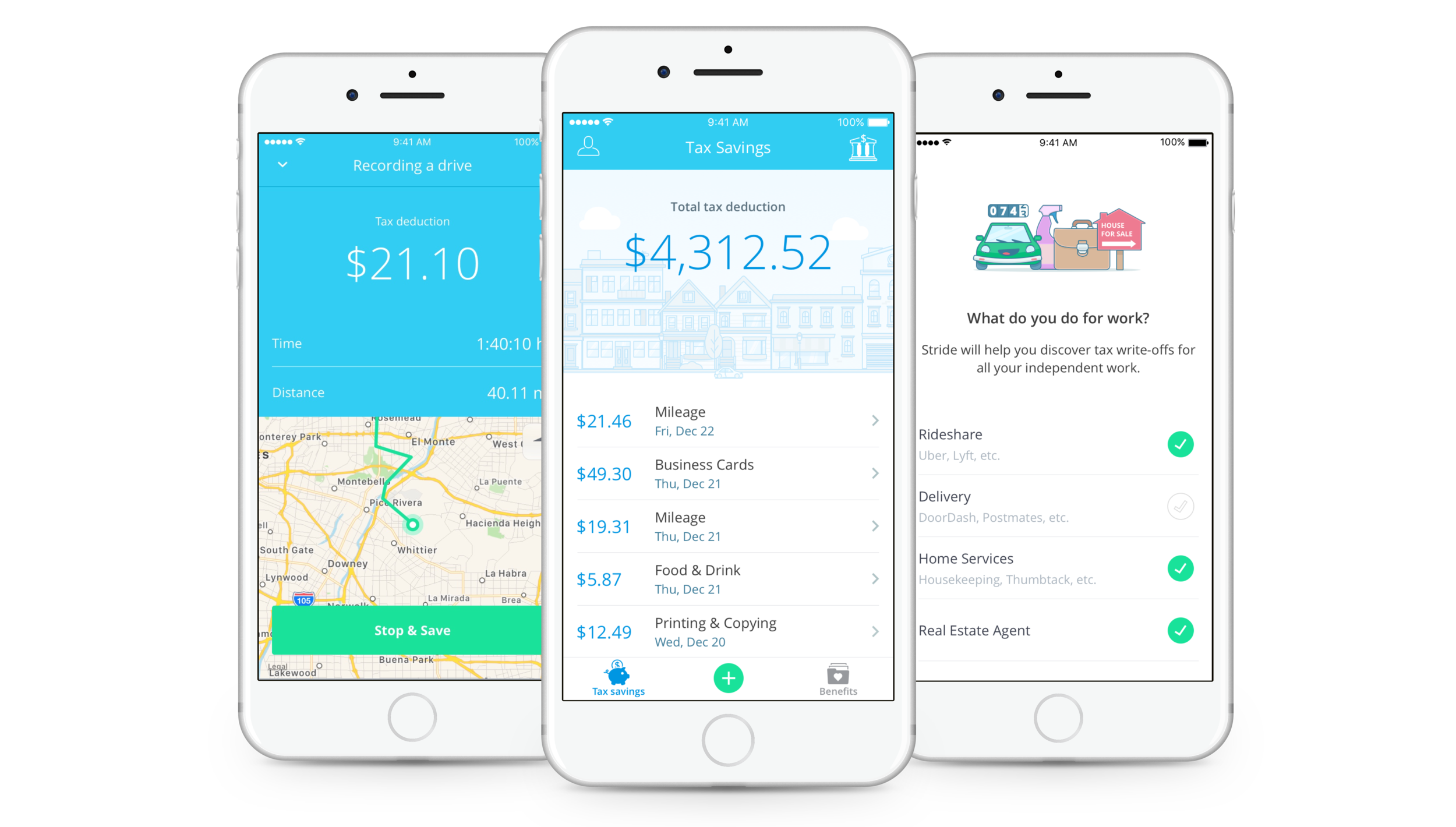 Free business expense & mileage tracker   Stride Tax is a free app that helps you log your business mileage, categorize your expenses, upload your receipts, discover money-saving tax deductions, and more. Download it today to start lowering your tax bill.   Learn more.