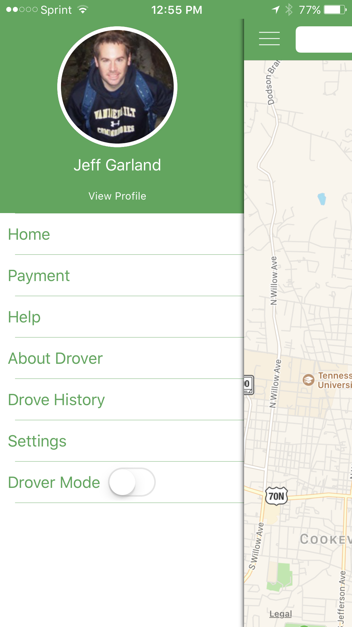 Drover App Menu Screen