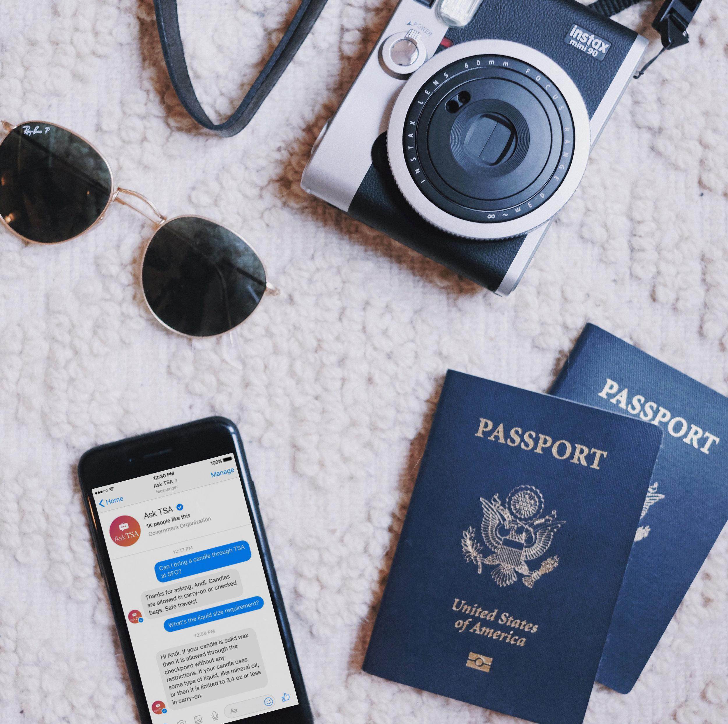 Lifestyle Instagram content for Messenger highlighting the Ask TSA bot