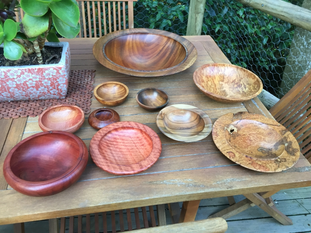 Recent range of bowls at the Makers Market all from Australian timbers