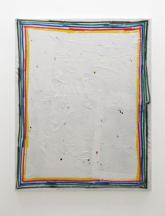 David Ostrowski,  F (Untitled 1) , 2012, acrylic and paper on canvas, 78 x 54 in