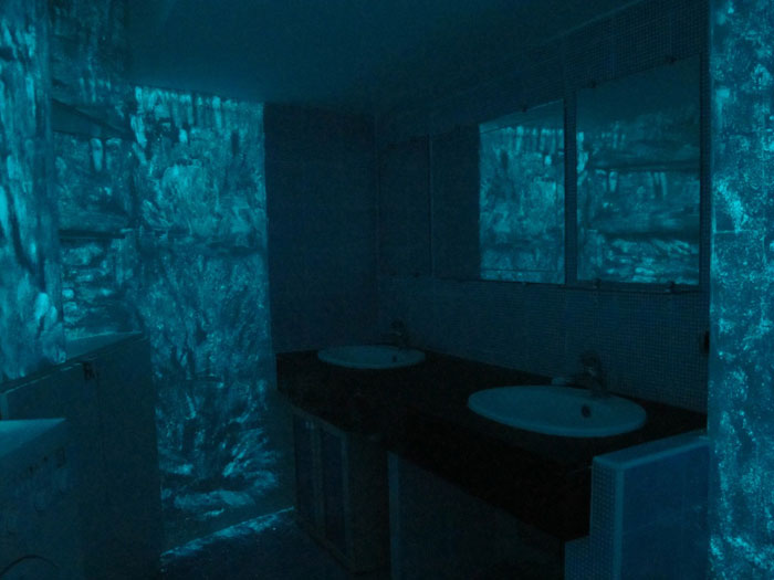 Servane Mary, Untitled (The Green Room) ,2012,Ultra Blue Glow-in-the-Dark powder, egg, pink flourescent ink,dimensions variable