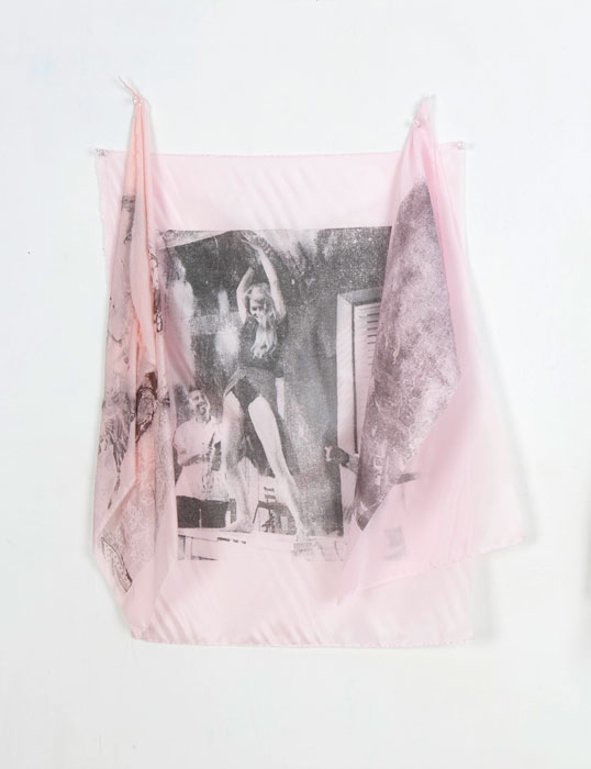 Servane Mary, Untitled (Brigitte Bardot and Flags) , 2011,solvent transfer on silk,24 x 20 in