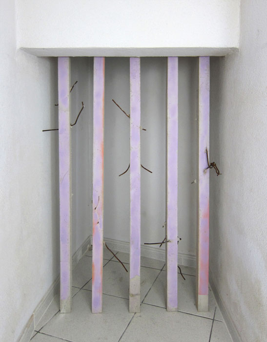 Davina Semo, I DEMAND YOU JUDGE ME AND DETERMINE MY PUNISHMENT , 2012,spray paint transfer on reinforced concrete, mirror, twisted steel,dimensions variable