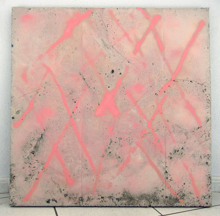 Davina Semo, THE FORCE OF THE TRUST I PUT IN YOU, MAKES YOU TRUST THE DOMINANT FORCES IN YOURSELF , 2012,spray paint transfer on reinforced concrete, tempered glass, rosebush stems, peach pit, cherry pits,35.5 x 35.5 x 1.8 in