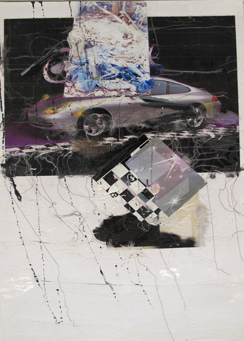 Leif Ritchey, Porsche Trash , 2008,acrylic and collage on poster,40 x 26 in