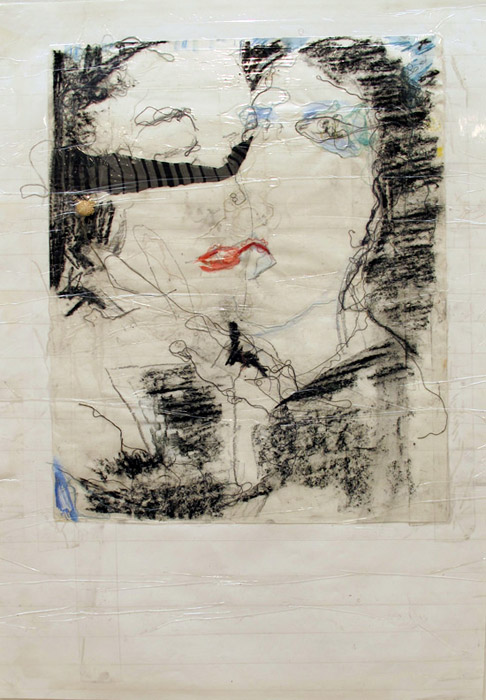 Leif Ritchey,  Untitled , 2008, mixed media and collage on poster, 35 x 23 in