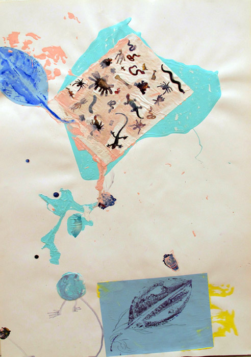Leif Ritchey,B-More Bush of Ghosts, 2008,acrylic and collage on poster,40 x 26 in