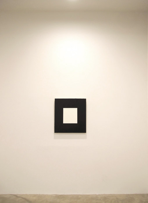 Nick Van Zanten, Untitled (Proportional Comparison of the August 2011 Unemployment Rates for White Americans (White Space) and Black Americans (Black Space)) , 2011,oil on canvas,28 x 26 in