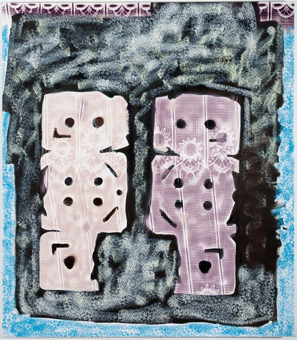 Tamara Gonzales, unicorn kittens , 2012,acrylic and spray paint on canvas,65 x 57 in