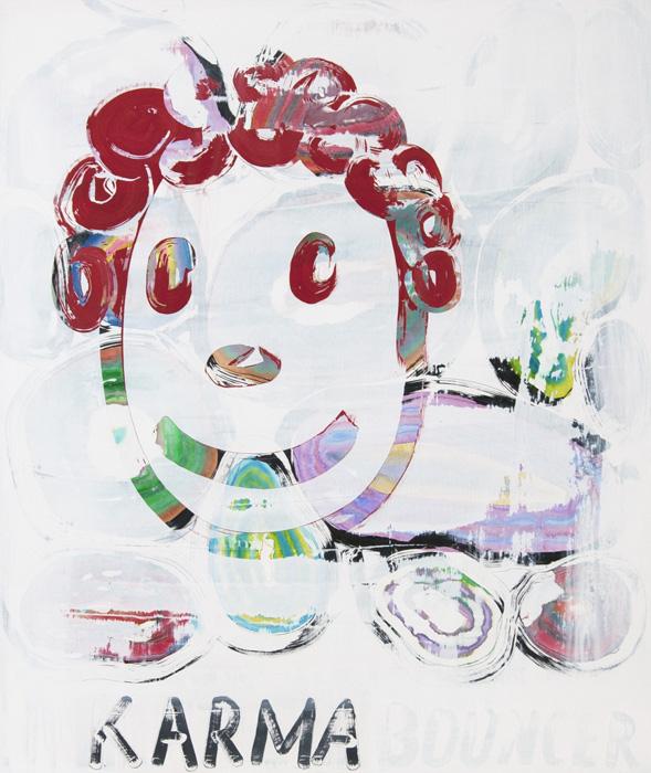 Dan McCarthy, Karma Bouncer , 2013,acrylic on marbelized gesso,43 x 37 in