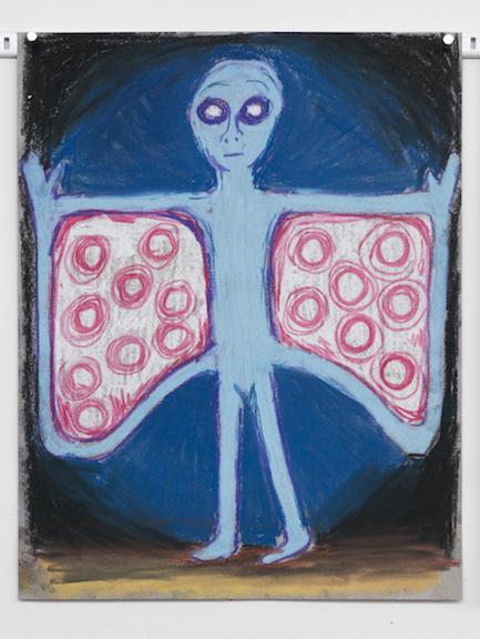 Charlles Irvin,  Moth Man , 2015,pastel on paper,14 x 11 in