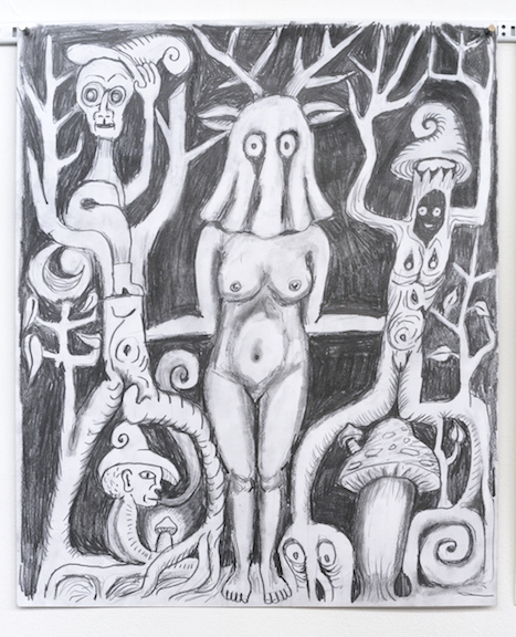 Charles Irvin, Deer Forest Girl , 2015,graphite on paper,17 x 14 in