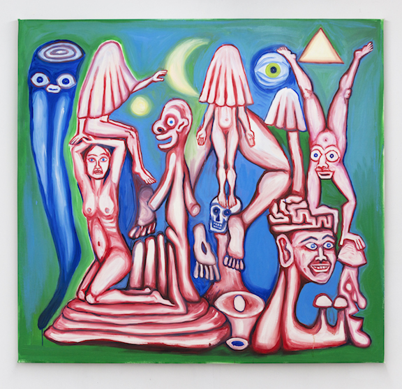 Charles Irvin, Red and Blue Figures , 2015,oil on canvas,46 x 49 in