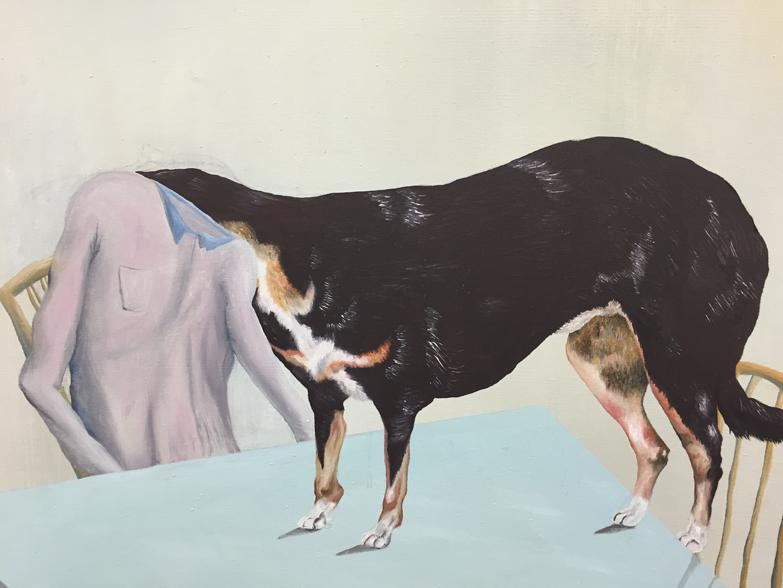 Urban Zellweger, Dog Day  (detail), 2016, oil on canvas, 27.2 x 24.8 in